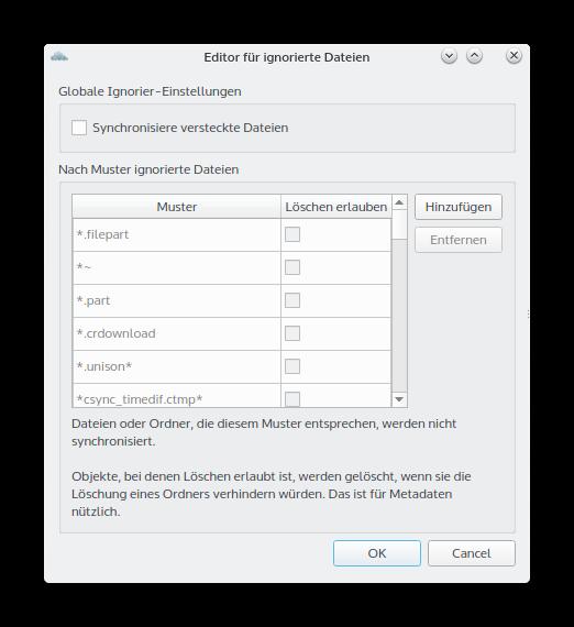owncloud einstellungen ignorierte Dateien