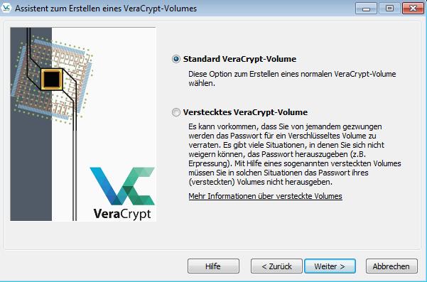 veracrypt erstellen hidden volume
