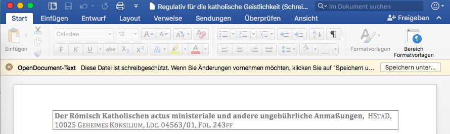 office speicherhinweis