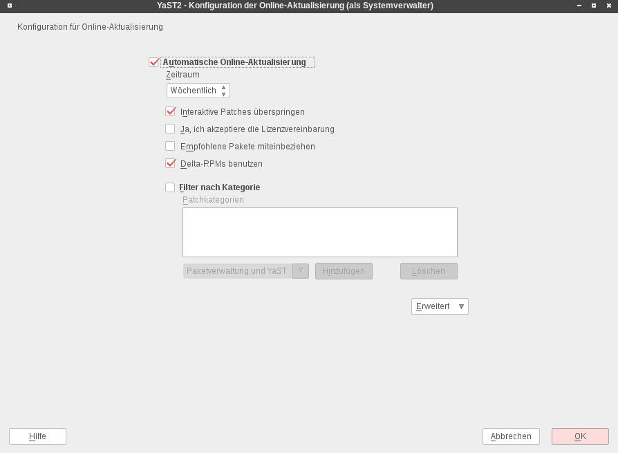 yast onlineupdate configuration